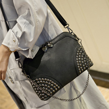 2017 neue mode niet ketten shell taschen handtaschen frauen berühmte marke umhängetasche crossbody frauen kupplung geldbörse bolsas femininas