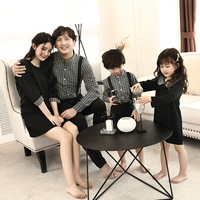 Family Matching Clothes Sets Mother Daughter Black Dresses Father Son Long Sleeve Shirts + Pants 2pcs Family Look Clothes Suits
