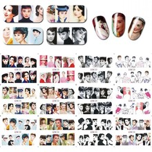 12/1 Designs!!!Nail Art Water Transfer Decals Beauty Movie Star Audrey Hepburn Nail Decorations Sticker Decal #BN121-132#