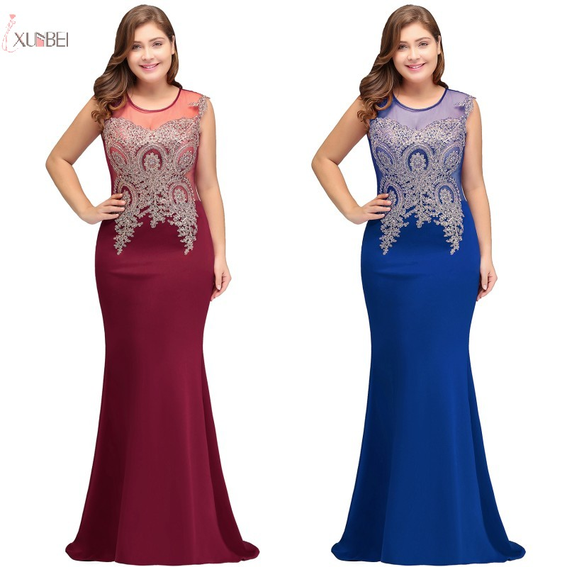 Elegant Burgundy Royal Blue Navy Blue Mermaid Long   Bridesmaid     Dresses   Plus Size Lace Applique Wedding Party   Dress