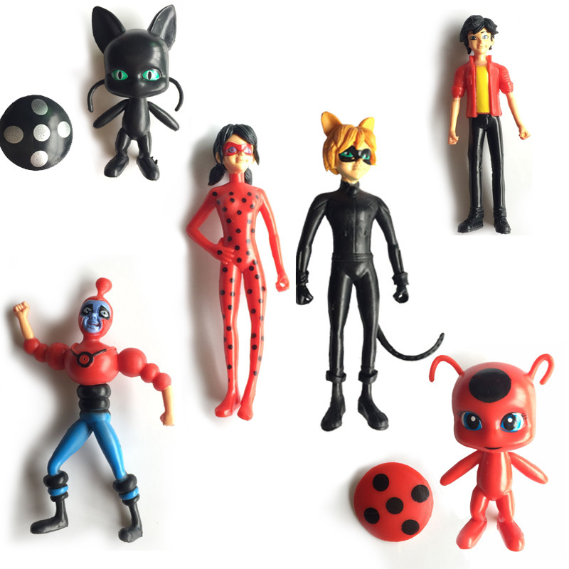 high quality 6PCS/lot Ladybug Cat Noir Juguetes Toy Doll Lady Bug Adrien Marinette Plagg Tikki Action Figures Gifts lady bug dolls