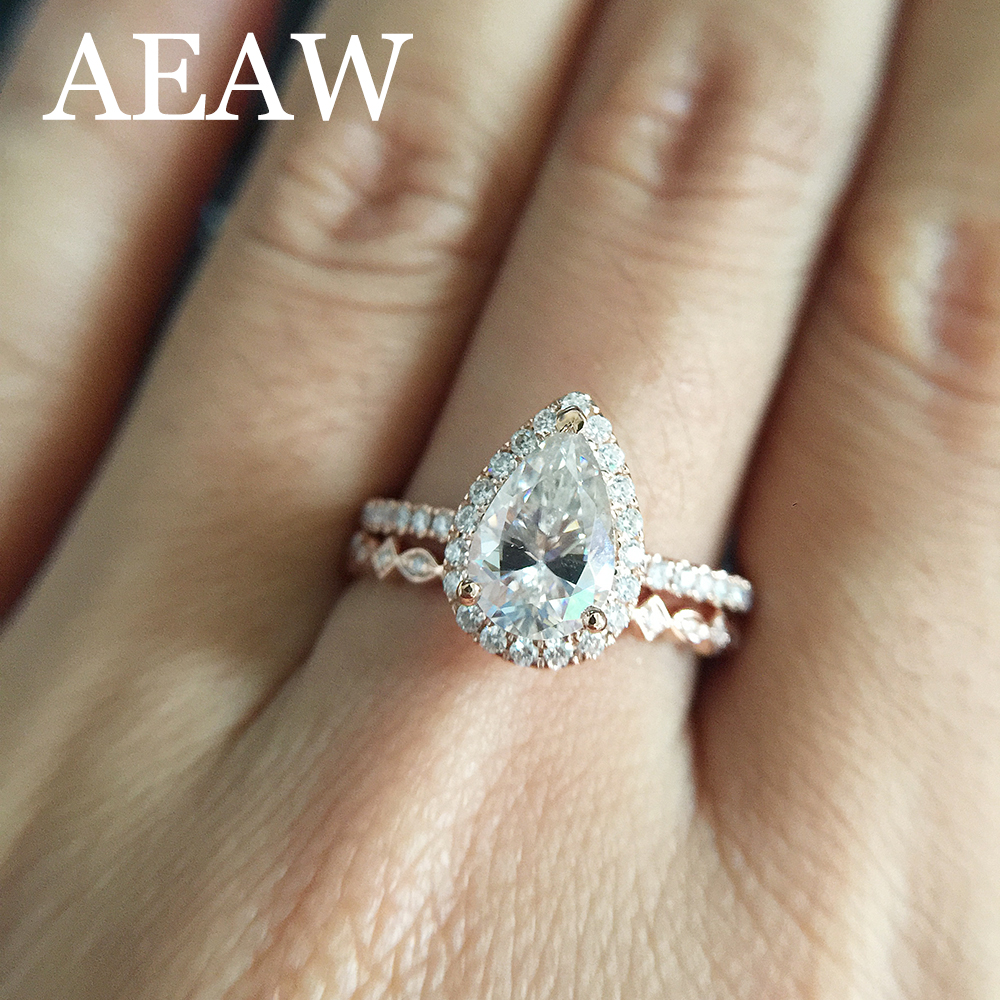 Solid 14K Rose Gold Pear Cut DF 1ct 8x6mm Moissanite Halo Engagement Ring Classic 585 Lab Grown Diamond Anniversary Ring цены