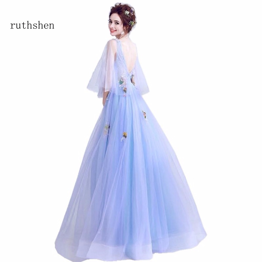 ruthshen 2018 Hot Sexy V Neck Luxury   Prom     Dresses   Print Flowers Cap Sleeves Floor Length Vintage Formal Special Occasions   Dress