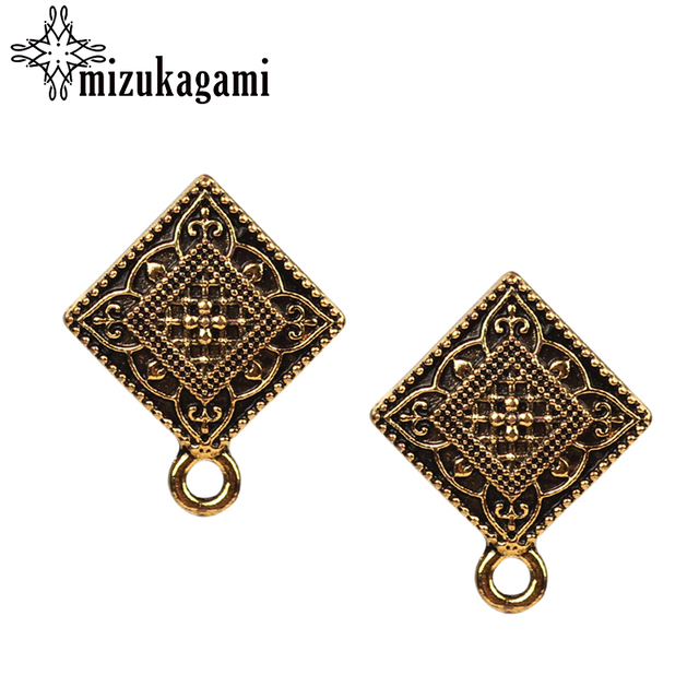 18 22mm Alloy Stud Earrings Accessories Retro Gold Square Shape Earring Base Connector For