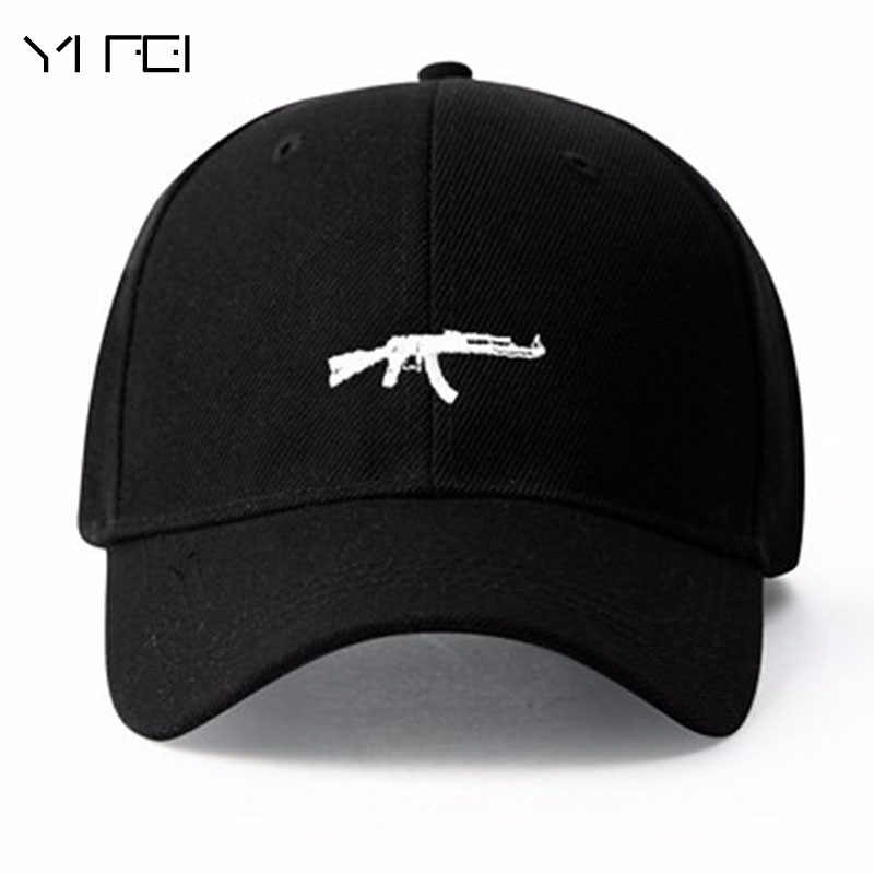 2018 Top Selling Uzi Gun Baseball Cap US Fashion  Ak47 Snapback Hip Hop Cap Curve Visor 6 Panel Hat Casquette De Marque