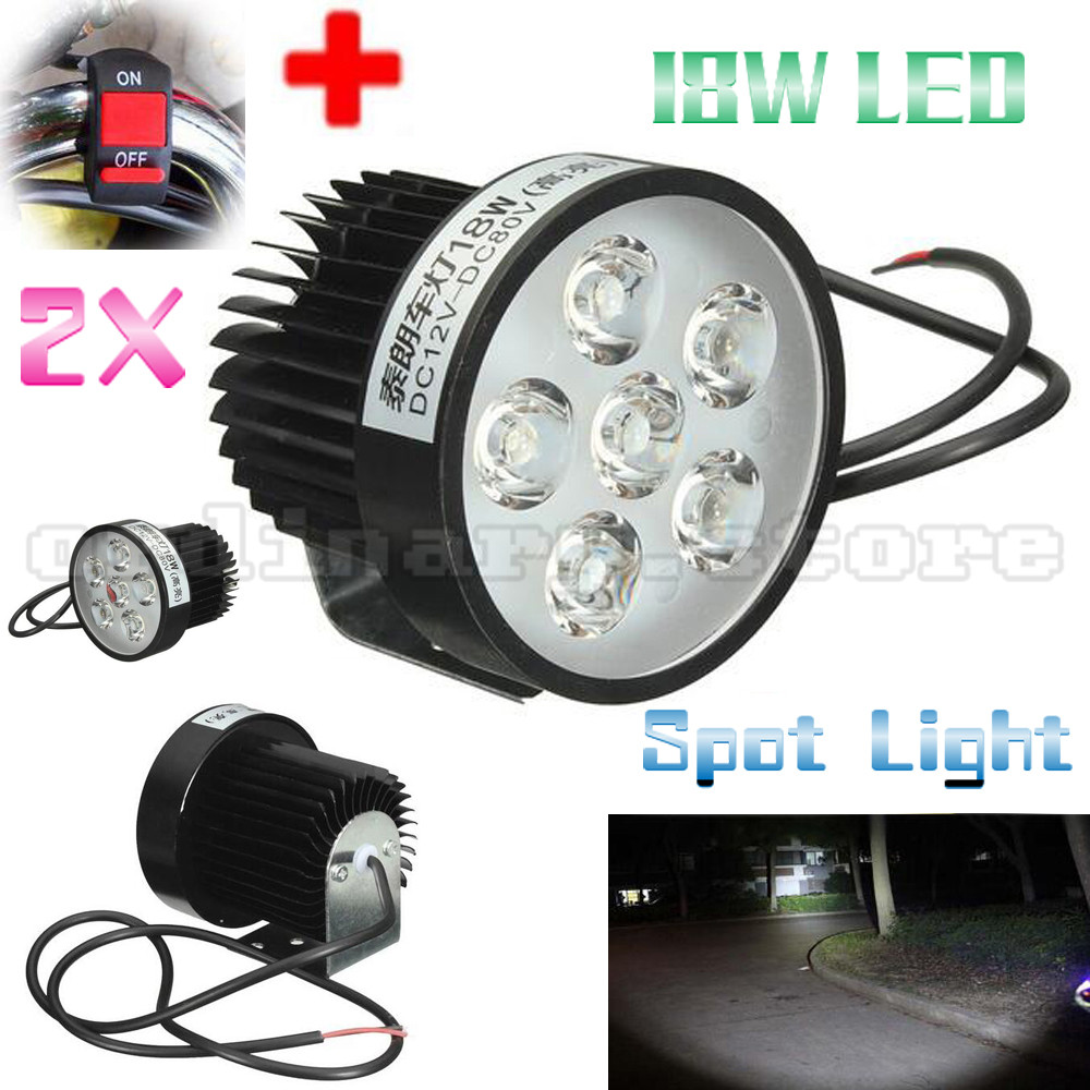 2x Super Bright 18W 6 LED Motorcycle Headlight Driving Fog Light For All Electric Moto Spot