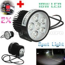 2x Super Brillante 18 W 6 LED de La Motocicleta Luz de Niebla Del Faro de Conducción para todos moto eléctrica punto lámpara de la noche de seguridad con 1 unids interruptor