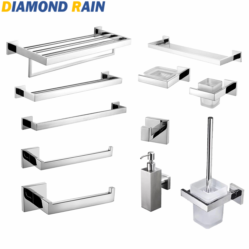 Polished Chrome 304 Stainless Steel Bathroom Hardware Sets Modern Square Silver Bathroom Accessories Wall Mounted Dr-07 Aesthetic Appearance Bathroom Fixtures