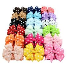 Baby Girls Headdress Bow Hair Clip Solid Color Trendy Style Handmade Gift Polyester Ribbon Children 593