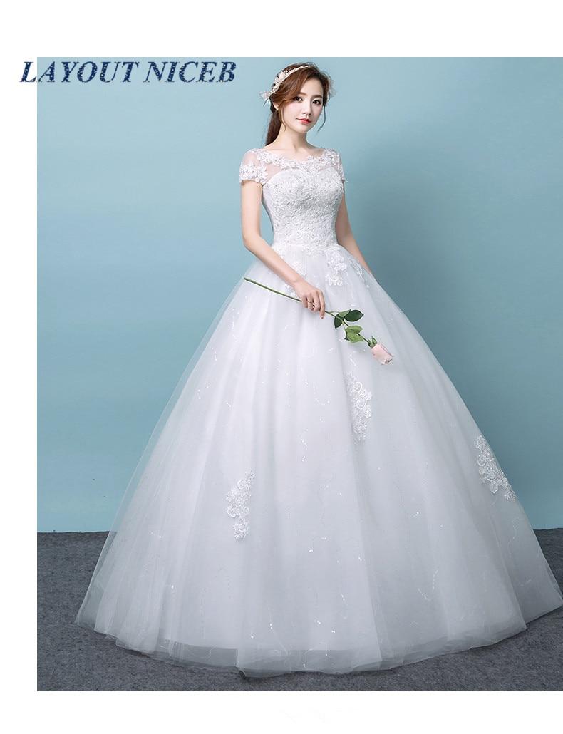 us $63.36 36% off|2019 white ball gown short sleeves wedding dress cheap  vestido de noiva lace vestido de festa longo gelinlik bride dress-in  wedding