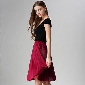 Image 3 - ANASUNMOON 여성 쉬폰 플리츠 스커트 빈티지 하이 웨스트 투투 스커트 여성 Saia Midi Rokken 2020 Summer Style Jupe Femme Skirt