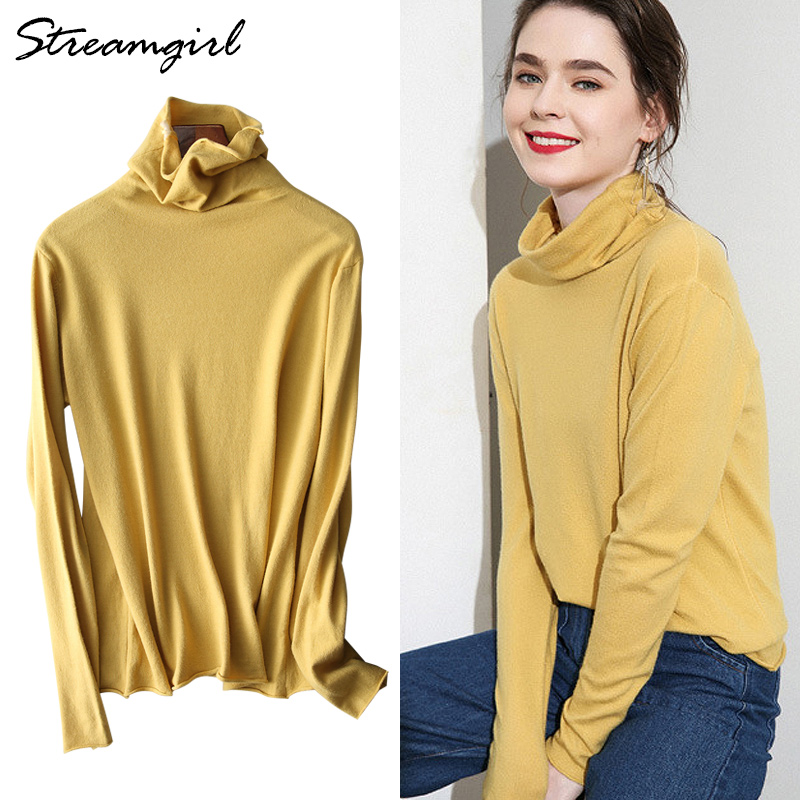 Cashmere Sweater For Women Jumper Pull Femme Women Turtleneck Sweaters Female Black High Neck Knitted Sweaters Pullovers Women