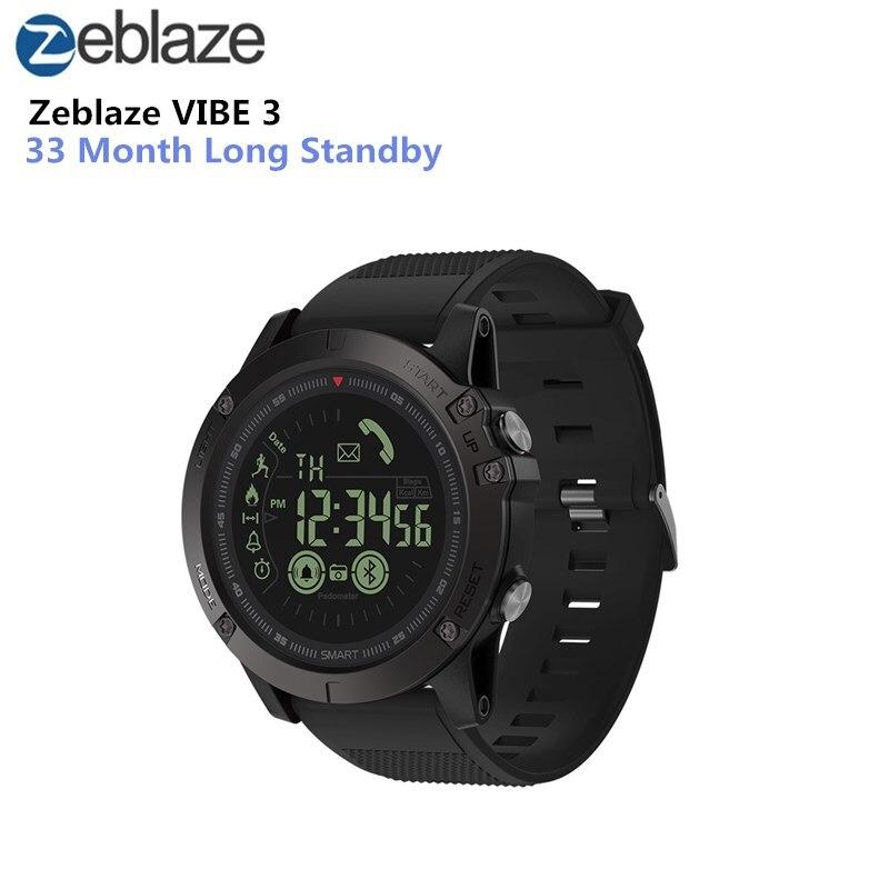 Reloj inteligente Zeblaze VIBE 3 GMT dos lugares durante todo el día registro de actividad deporte 33 meses de tiempo en espera recordatorio de información inteligente reloj inteligente