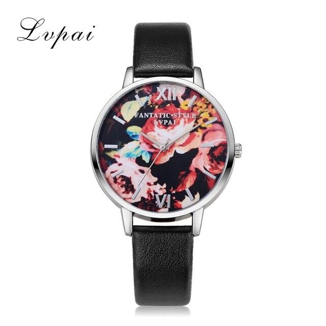 09763f36395 Prata Relógios Das Mulheres Moda De Luxo Relógio LVPAI Flores Marca Mulheres  Esporte relógios de Pulso