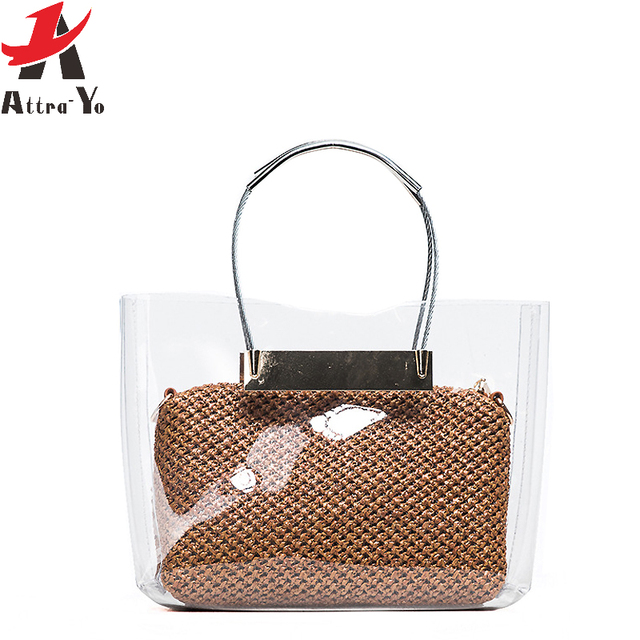 afbfa78cf433 Atrra-Yo Beach Bag Transparent Pocket Package Knitting Messenger Bags  Handbag Brands Women s Shoulder Bag