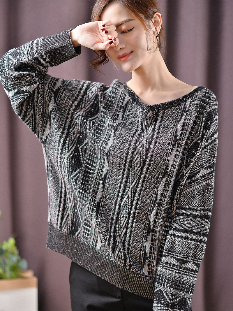 2019 Women Cashmere Blend Sweater Slash-Neck Pullovers Long Sleeve Jumpers Womens Elegant Knitted Sweaters Gray Color