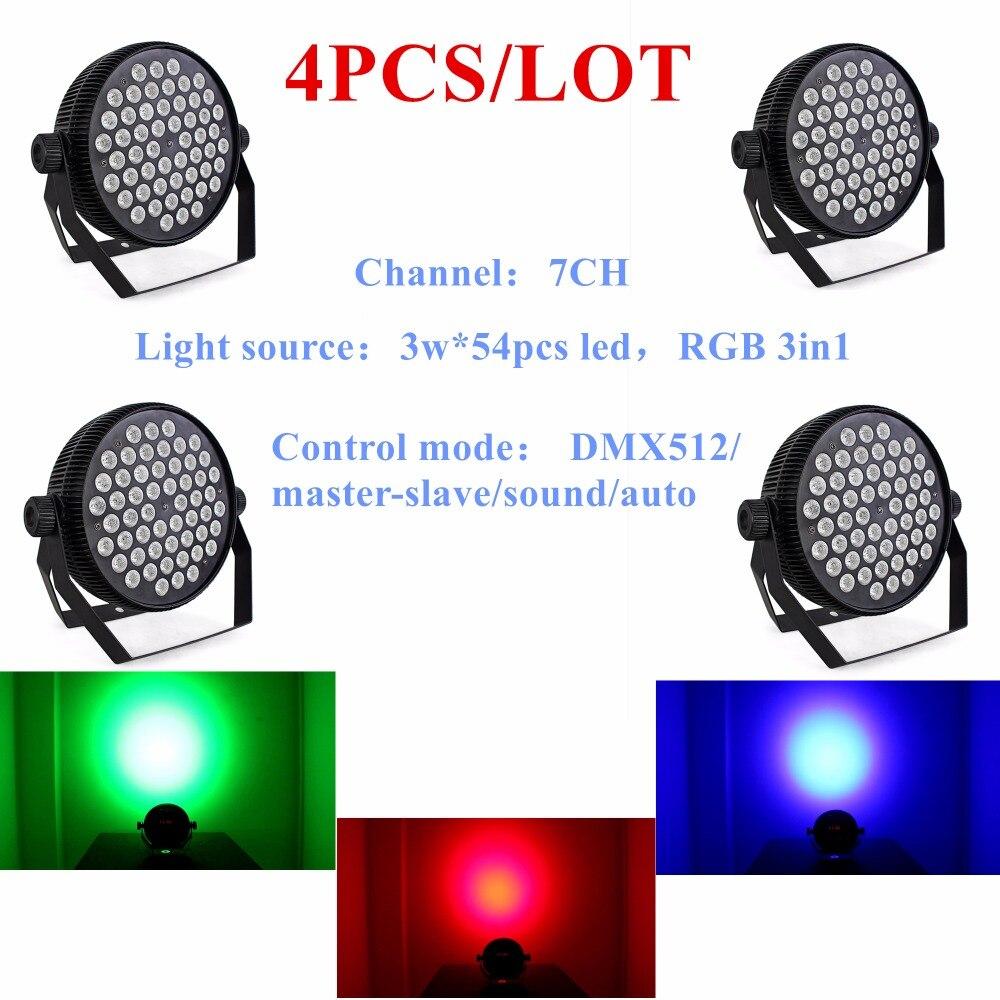 4PCS/LOT Hot Selling Led Par Stage DJ Lights 54pcs 3W RGB 3in1 Home Party Disco Strobe DMX512 Flat professional Lighting
