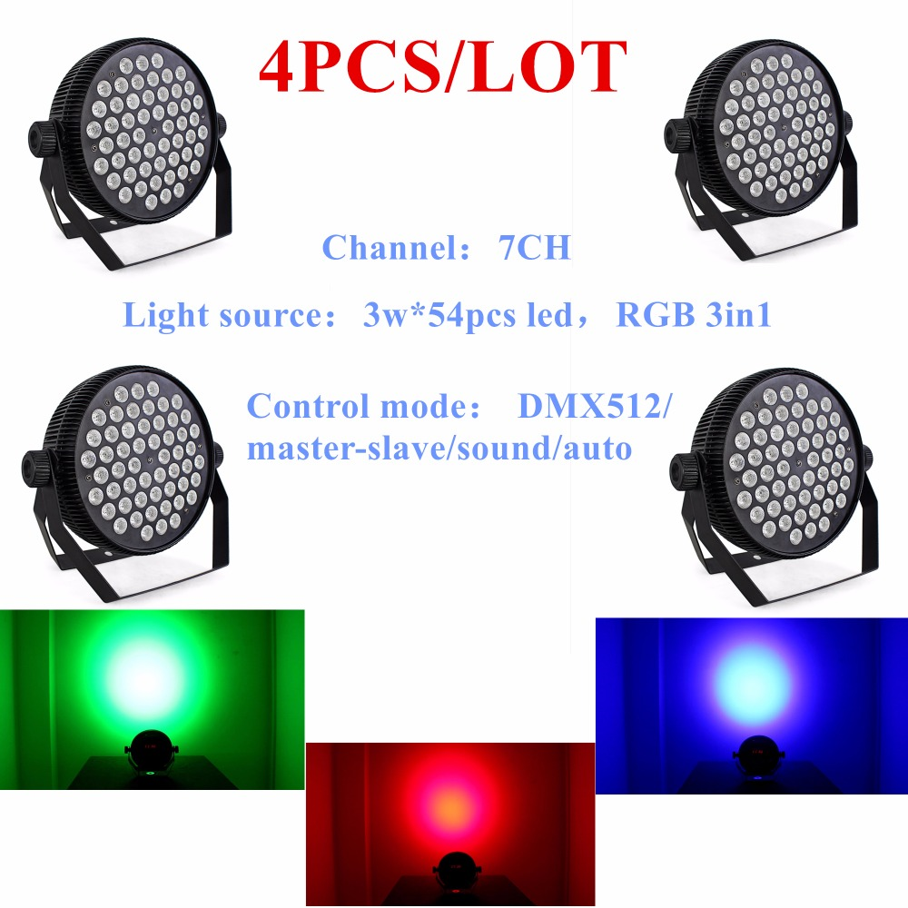 4PCS/LOT Hot Selling Led Par Stage DJ Lights 54pcs 3W RGB 3in1 Home Party Disco Strobe DMX512 Flat professional Lighting ...