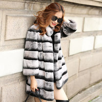 New 2018 Stand Collar Women's Natural Real Rex Chinchilla Fur coats Thick Warm Luxury Christmas gift Fur Coats