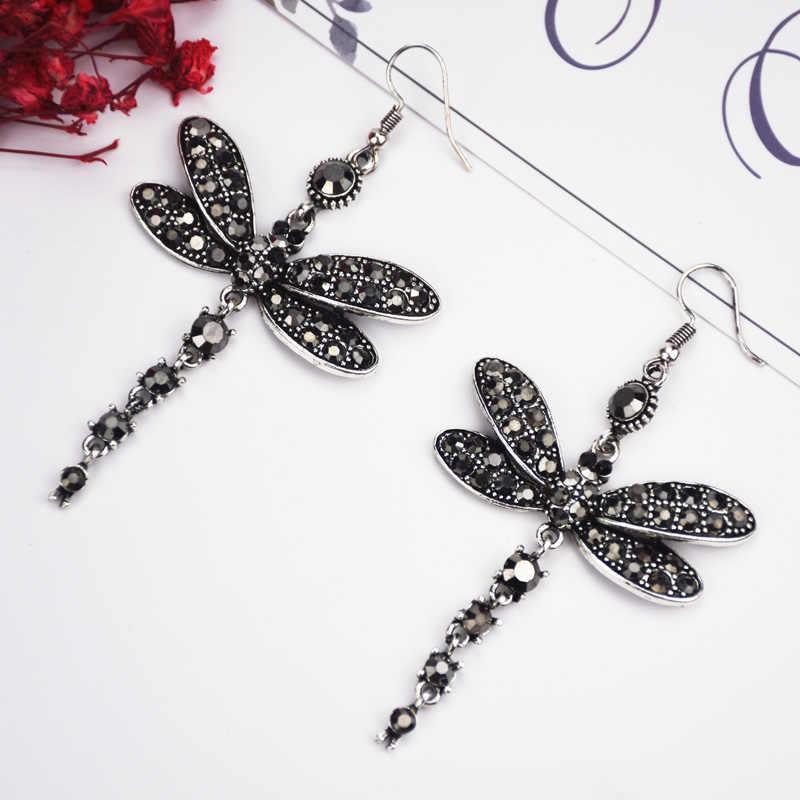 2019 Earrings For Women Dragonfly Tassel Earring Vintage Drop Dangle Earrings Boho Crystal Rhinestone Trendy Fashion Jewelry