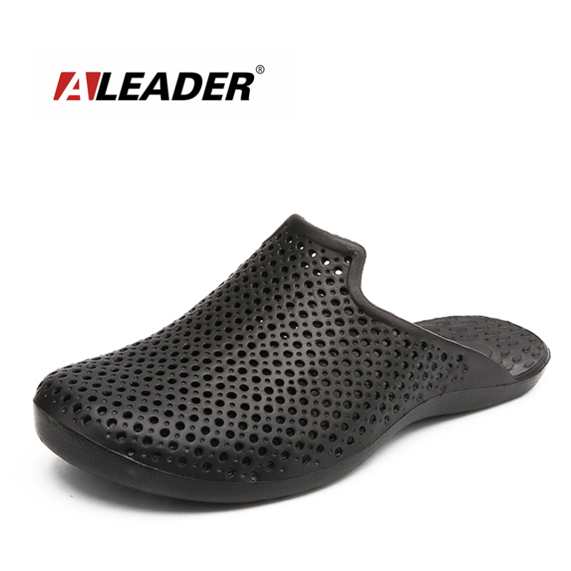 ALEADER Summer Mens Beach Sandals Causal Slip On Shower Shoes Breathable Walking Mens Slides Closed toe Garden Clogs For Male free shipping candy color women garden shoes breathable women beach shoes hsa21