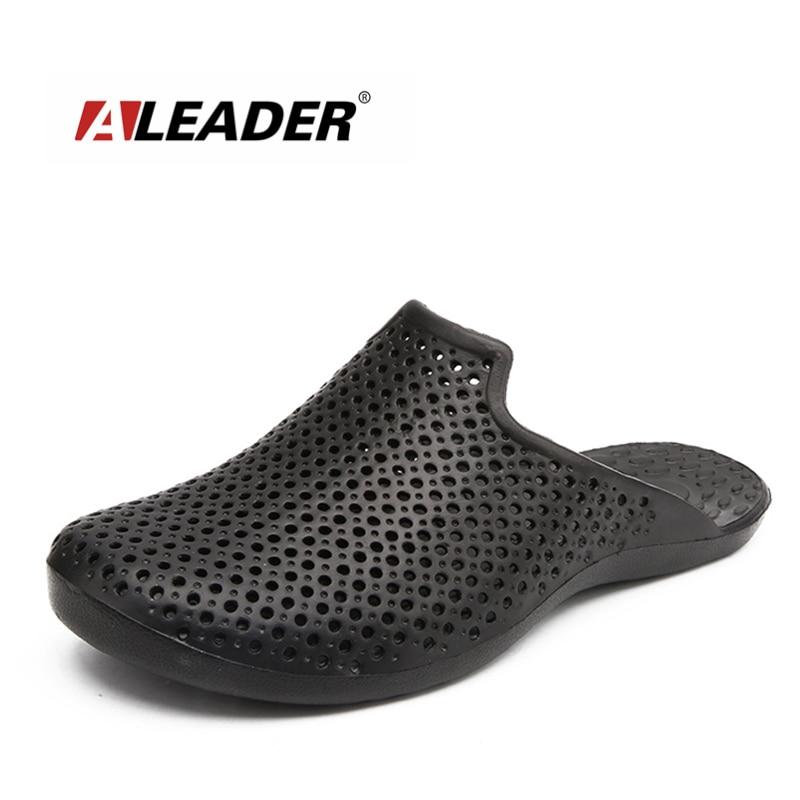 ALEADER Summer Mens Beach Sandals Causal Slip On Shower Shoes Breathable Walking Mens Slides Closed toe Garden Clogs For Male