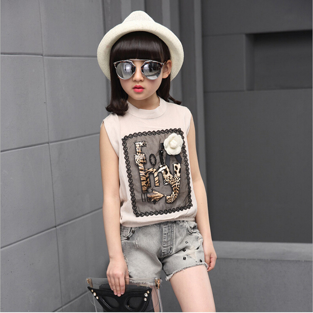 Summer girls clothes 2016 new girls sets for baby kids fashion flowers sleeveless shirt + bull-puncher knickers two-piece outfit