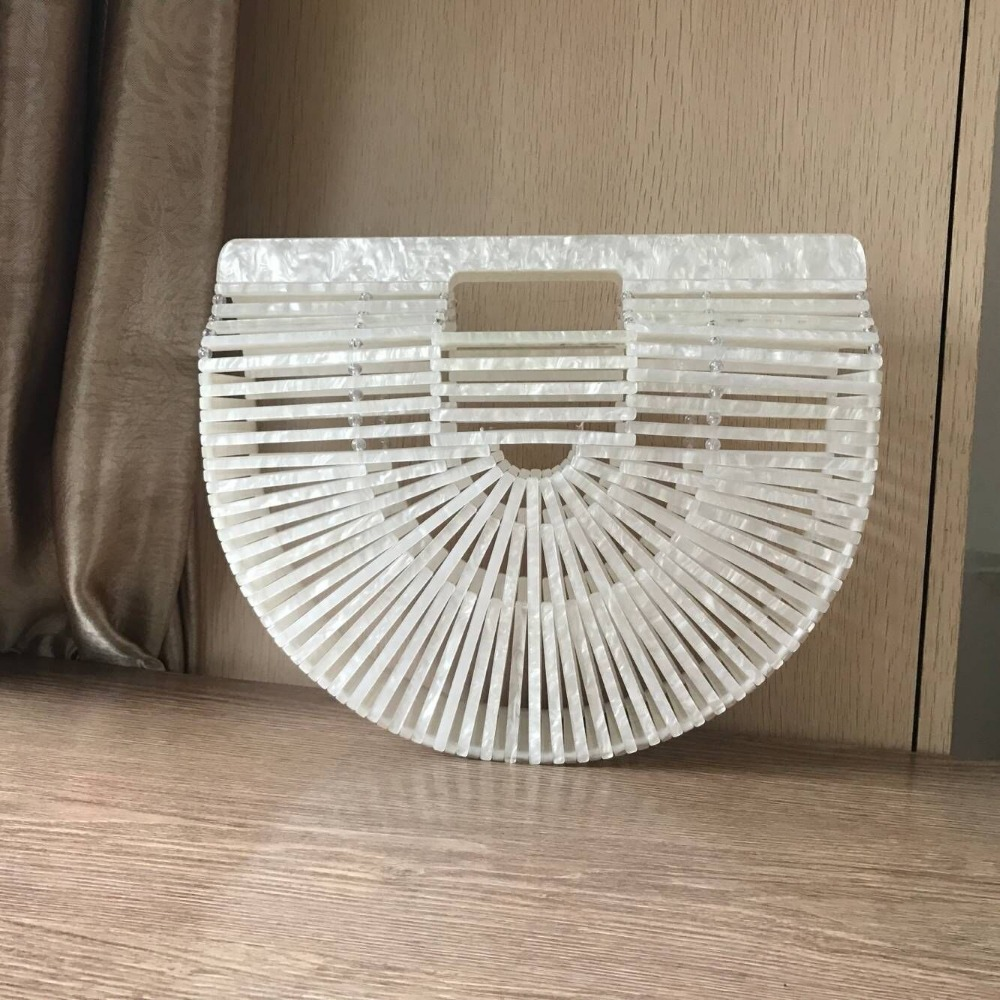 Women Handbag Female Big Travel Vacation Totes Bamboo style Acrylic Handbag For Ladies Handmade Straw Beach Bag Summer women s handbags female travel vacation round tote bamboo handbag for ladies handmade woven straw beach bag summer women s purse