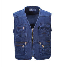 New Hyweacvar Men s Multi Functional Work Vest Multi Pocket Filming Photographer Denim Jeans Vest