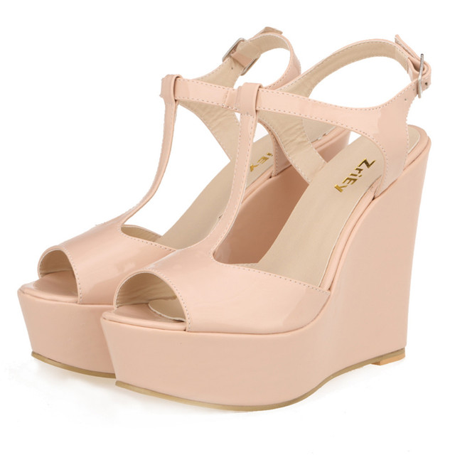 Women Platform Peep Toe High Heel Summer Sandals Ladies Wedges Nude Pumps  PU Leather Party Wedding 782d6ac9023d