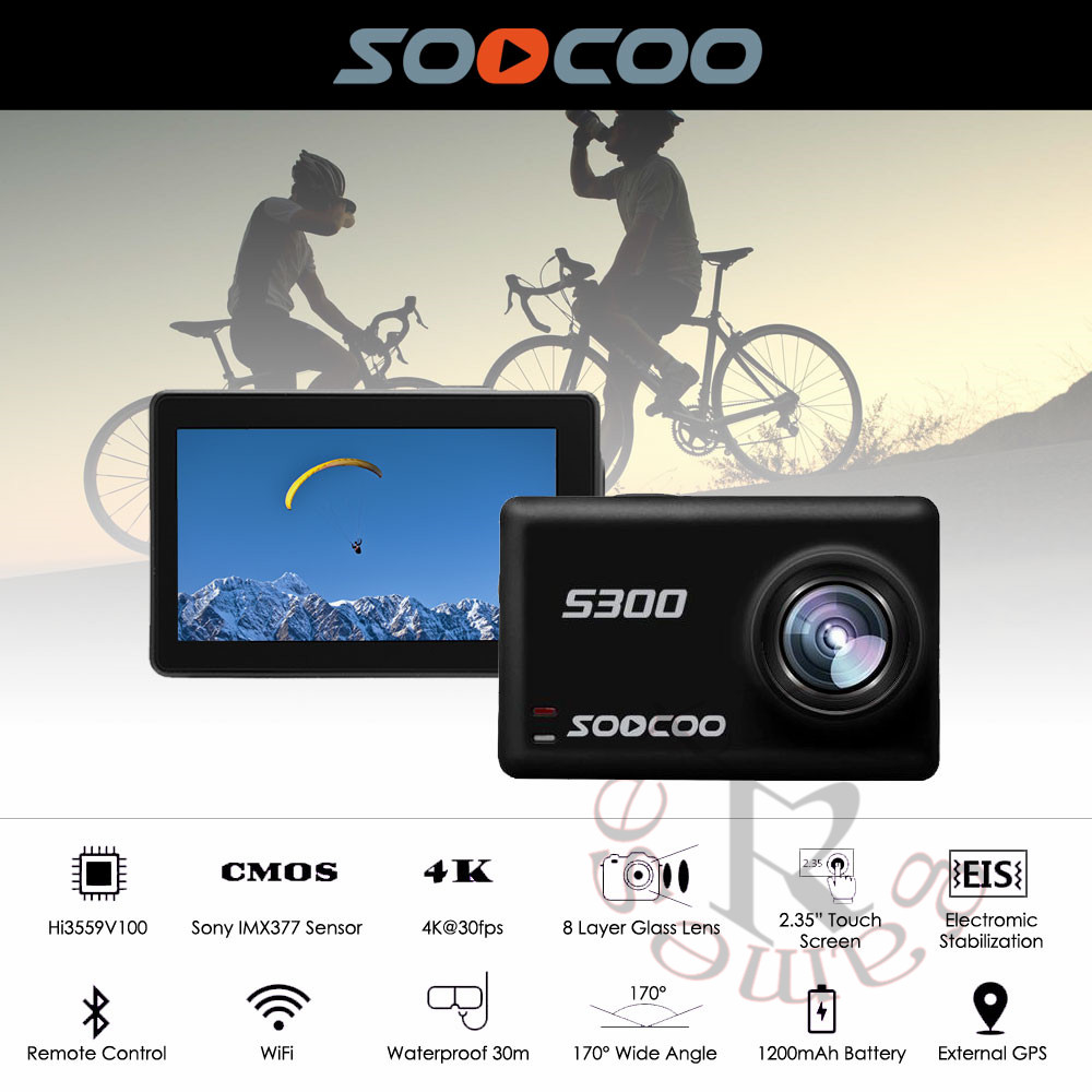 SOOCOO S300 Action Camera 2.35 touch lcd Hi3559V100 + IMX377 4K 30fps 1080P 120fps EIS Wifi 12MP remote external mic sport camSOOCOO S300 Action Camera 2.35 touch lcd Hi3559V100 + IMX377 4K 30fps 1080P 120fps EIS Wifi 12MP remote external mic sport cam