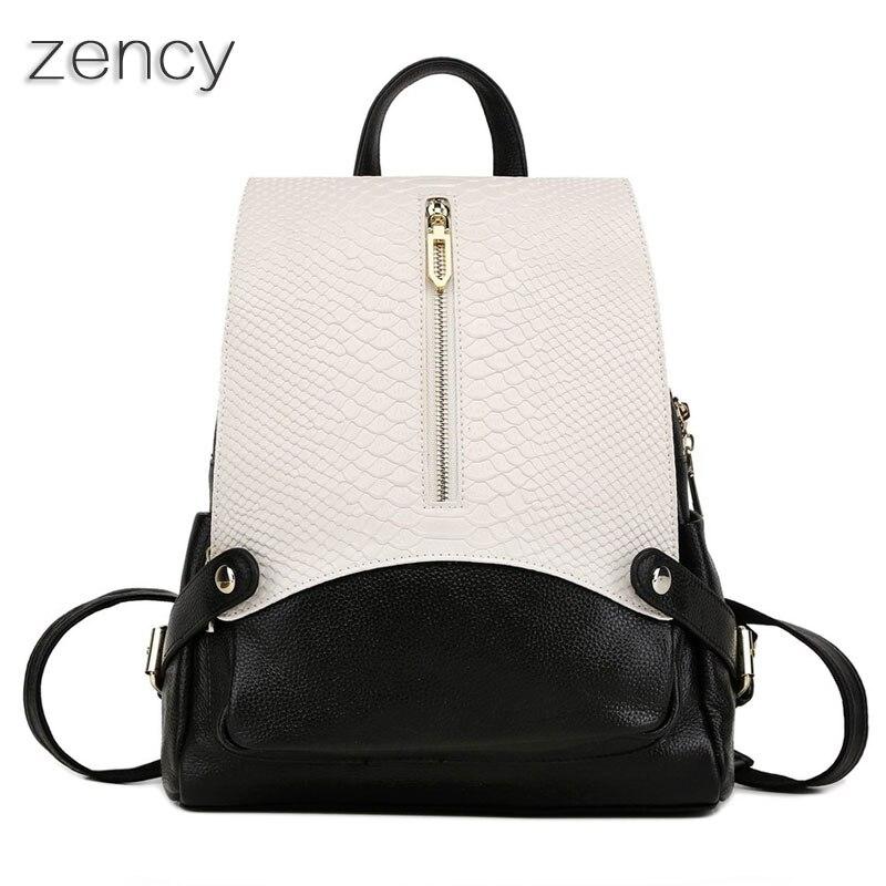 ZENCY Genuine Leather Women Backpack Crocodile Pattern Backpacks Ladies Girl s School Book Bag Real Cowhide