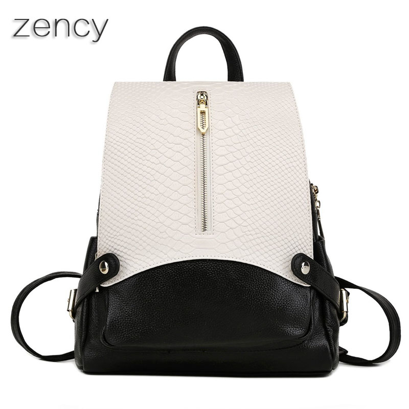 ZENCY Women Female Genuine Leather Backpack Crocodile Pattern Backpacks School Bags For Girls Cowhide Mochila elegant crocodile pattern fashion women backpacks multipurpose solid genuine leather bags