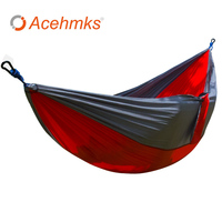 Double Camping Hammock With Steel Carabiners Portable For Hiking Travel Beach Ultra Lightweight Parachute Nylon