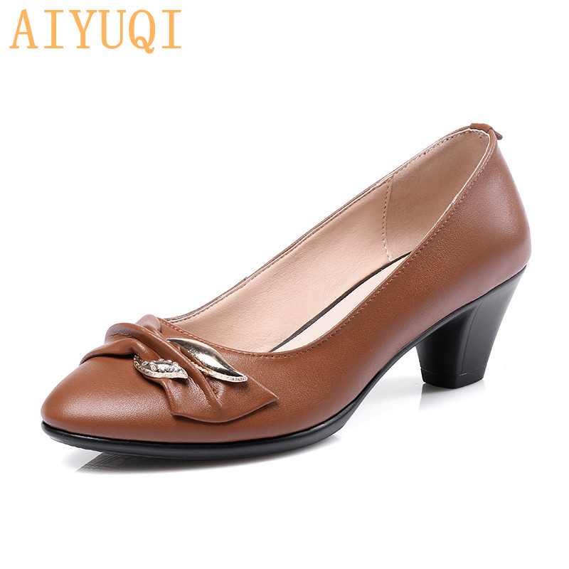 Women Shoes High Heels Pumps Fashion Party Round Toe Leather Spring Fall Shoes Classic Black For Office Lady Tenis Feminino