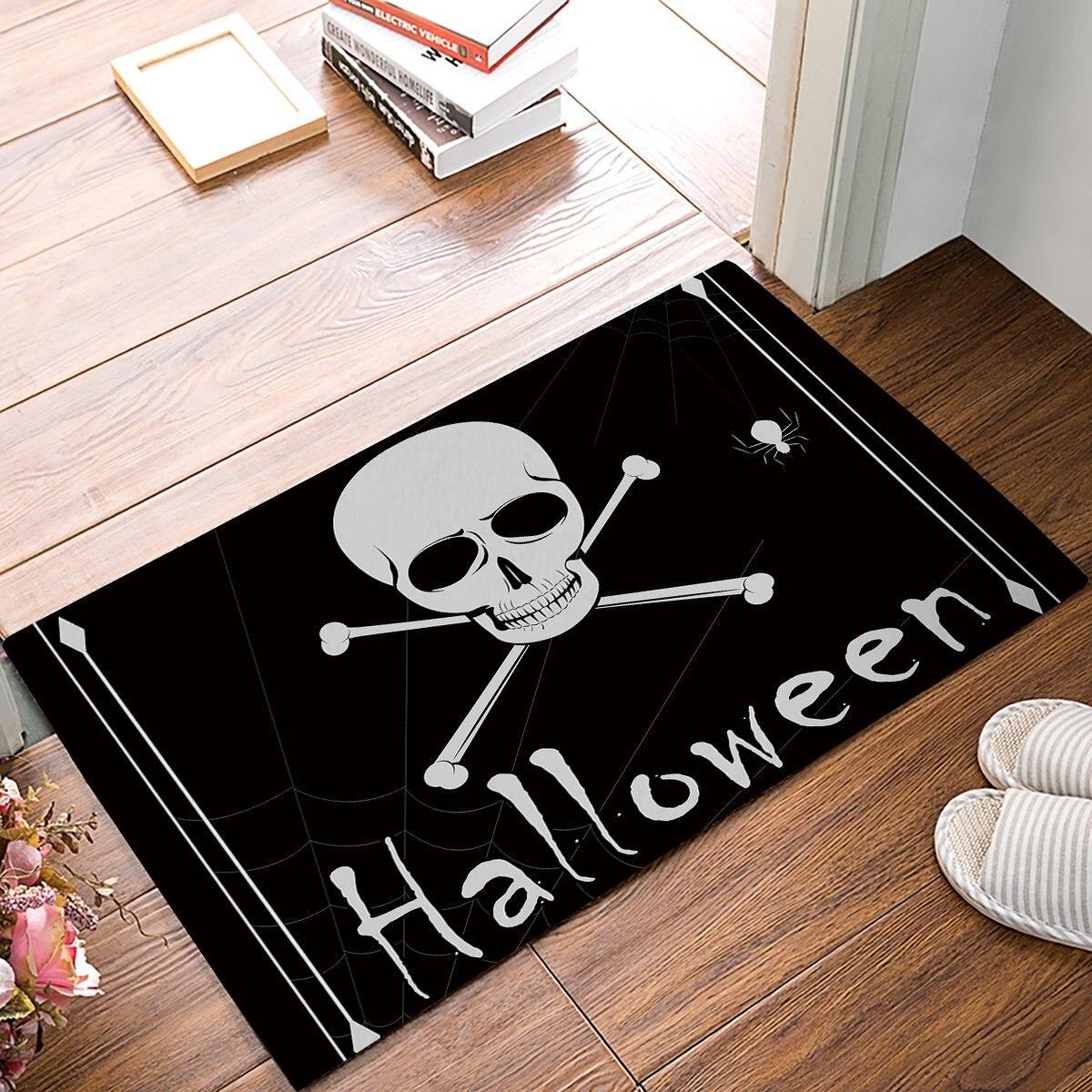 18 x 30 Inch Halloween Skull Black And White Door Mats ...