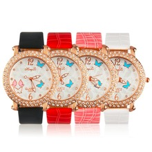 OUTAD Women's Butterfly Crystal Round Quartz PU Leather Band Wrist Watch Gift with Pink, Red, Black, White color relogio