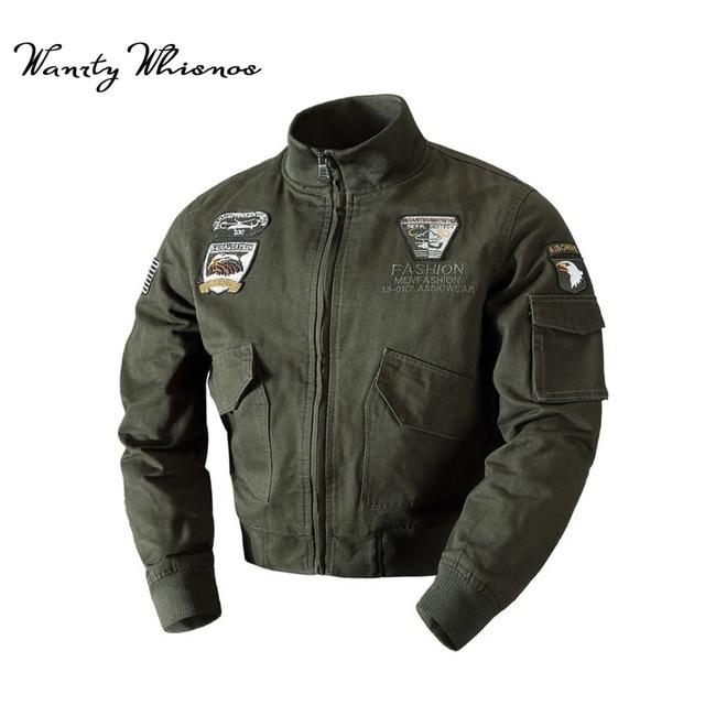 Wholesale Military Jacket Men Winter Cotton Jacket Coat Army Pilot Jackets  Air Force Cargo Coat Spring Slim type Cargo Jaqueta 65070b65aee
