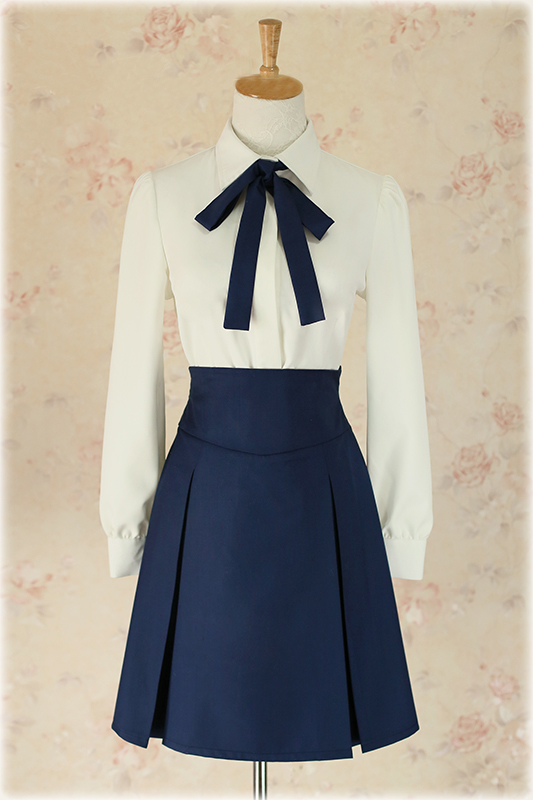 Free Shipping Fate/Stay Night Saber Cosplay White&Blue Uniform Skirt Womens Girls Halloween Costumes S-XL