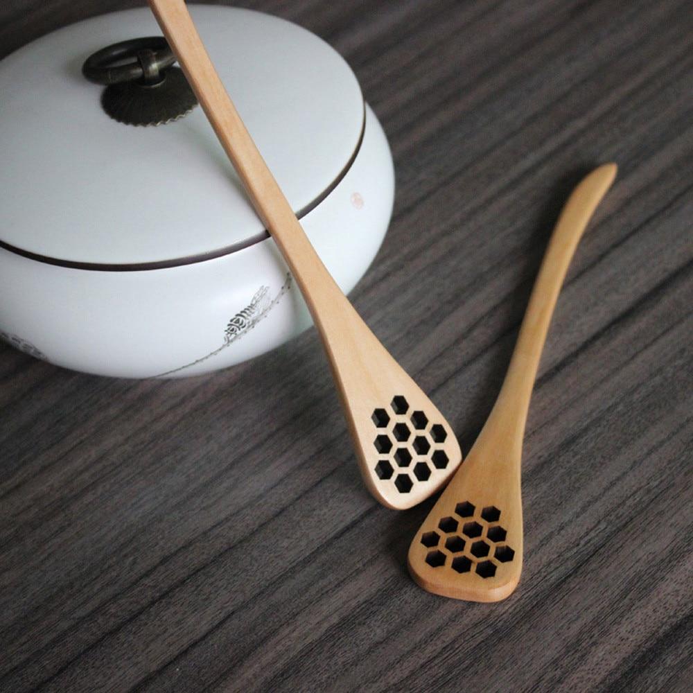 TENSKENEW 1pc Bionic Natural Wood Honey Dipper Server Mixing Stick Healthy *23 hogar cocina 2017 hot sale