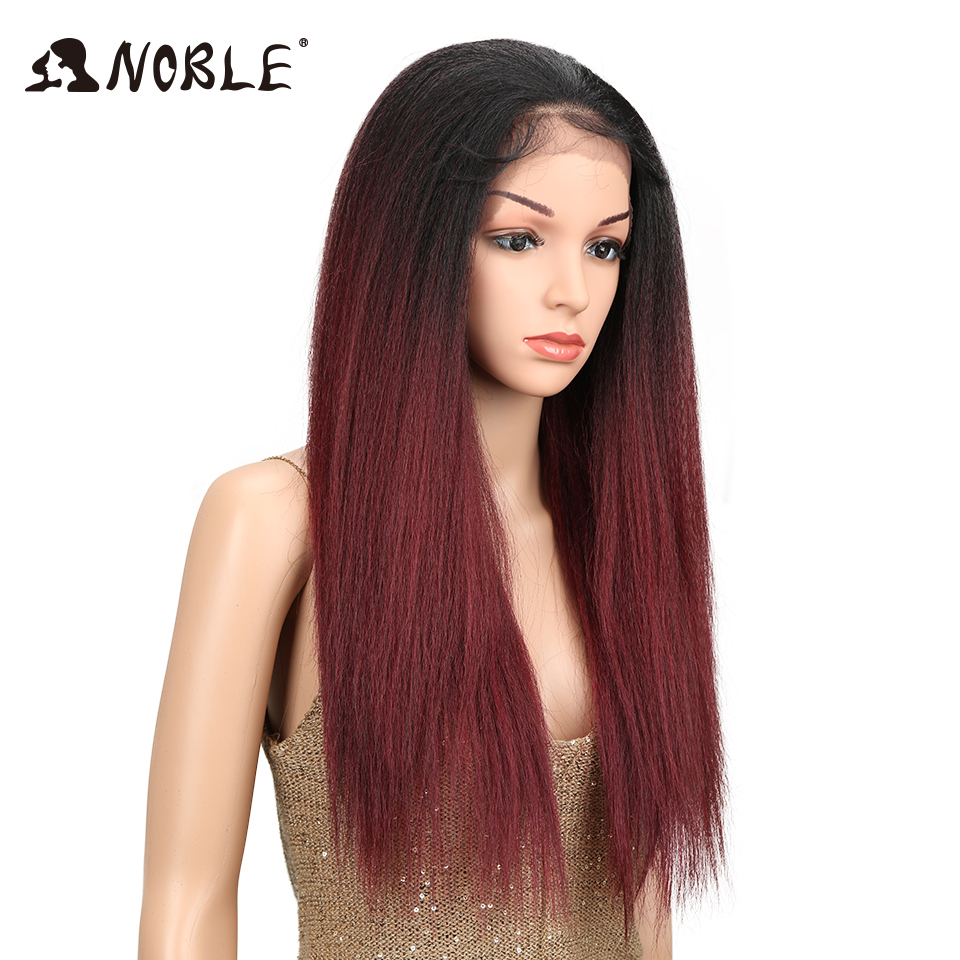 Noble Brown Color Yaki Straight Natural Hairline 26Inch Heat Resistant Fiber Daily Synthetic Lace Front Wigs For Black Women