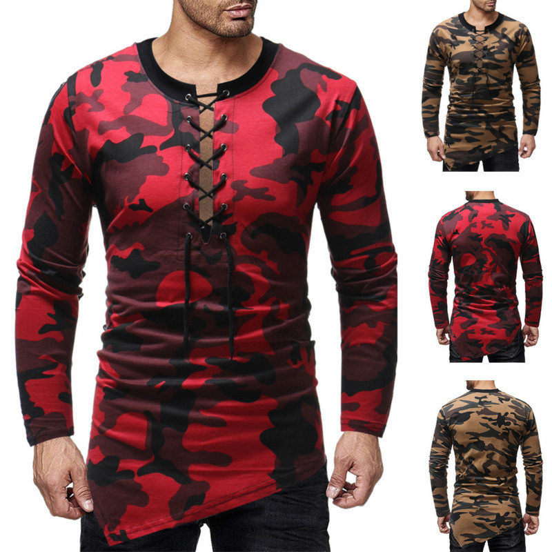 Spring Autumn New Mens Neckline Irregular Hem Camouflage Long Sleeve Slim T-Shirt Fashion Clothing Tshirts Men Male Tops