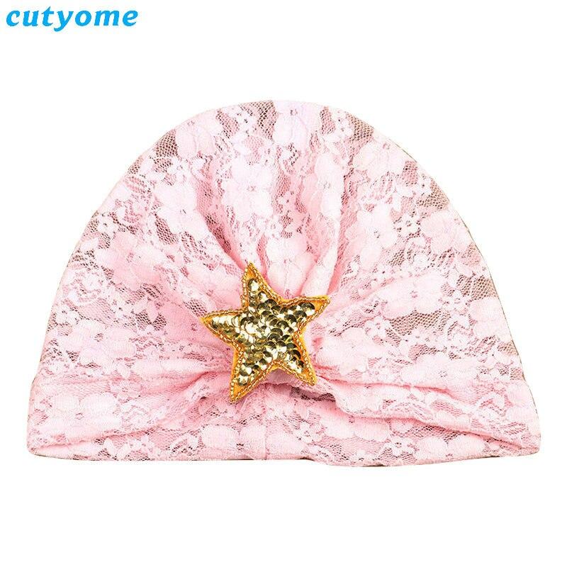 Cutyome 2 unids / set Bebé Niñas Sombrero de Encaje con Estrella - Ropa de bebé