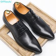 QYFCIOUFU High Quality Men Designer Dress Shoes Genuine Leather Formal Male Oxford Italian Classic Mens Wedding