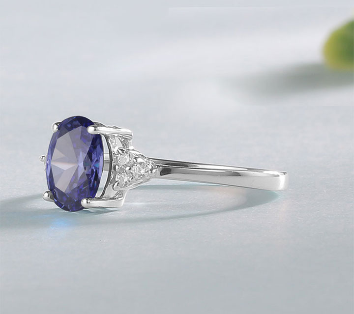 HTB1JV3VN4naK1RjSZFBq6AW7VXa1 Kuololit Solid 925 Sterling Silver Rings For Women Created Tanzanite Gemstone Ring Wedding Engagement Band Fine Jewelry New