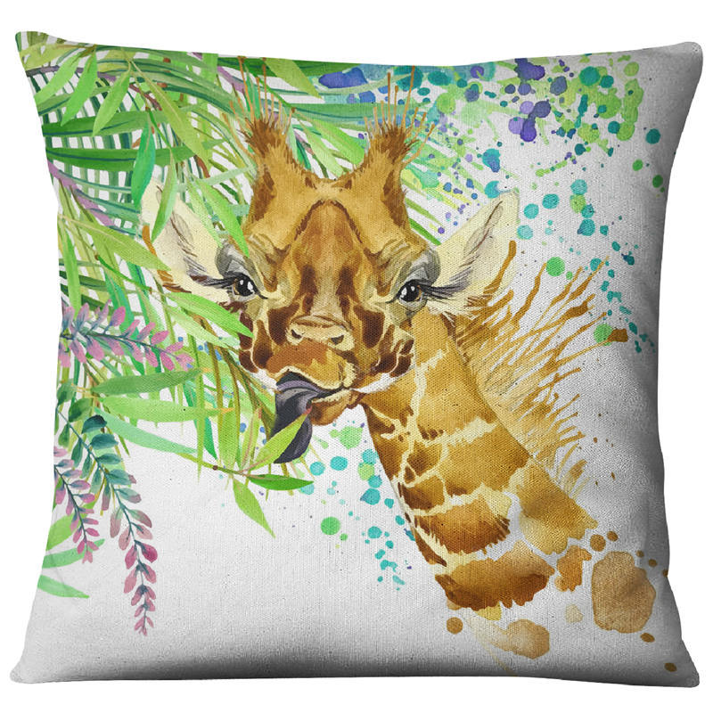Image 3 - Hand painted Watercolor Printed Linen Cushion Cover  Animals Plants Flamingo Giraffe Throw Pillowcase Home Decor Sofa Decoration-in Cushion Cover from Home & Garden