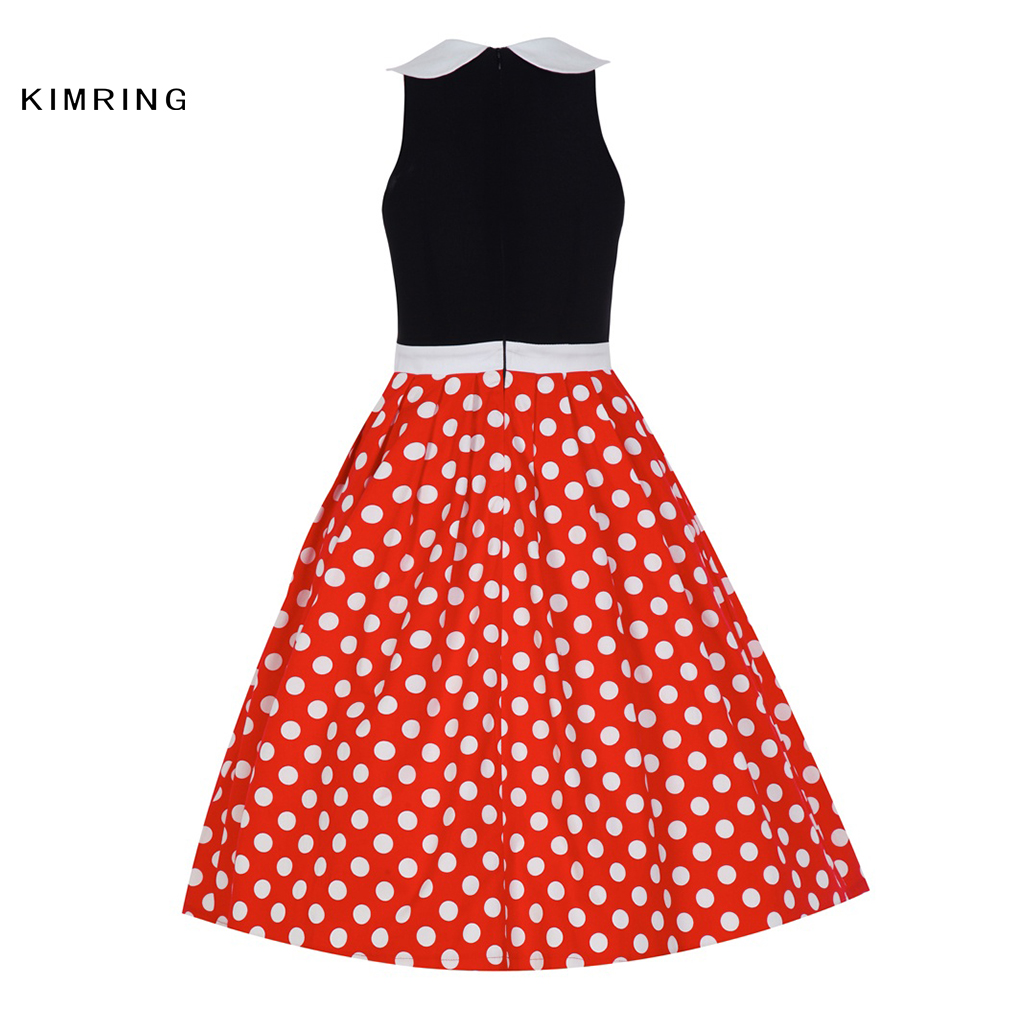 55aa8d74d58 Kimring Summer Fashion Dress Hepburn Style Women Casual 50s 60s Polka Dot  Pattern Cocktails Rockabilly Robe Retro Swing Dress-in Dresses from Women s  ...