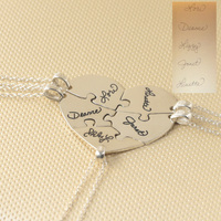 Custom 5 Pieces Heart Puzzle Necklace With Signature Engraved Pendent 925 Sterling Silver Family Necklace Set