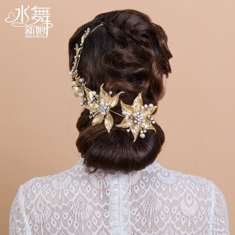 Korean bridal hair accessories rhinestone pearl flowers 3d golden leaf luxury hair jewelry headdress headpiece