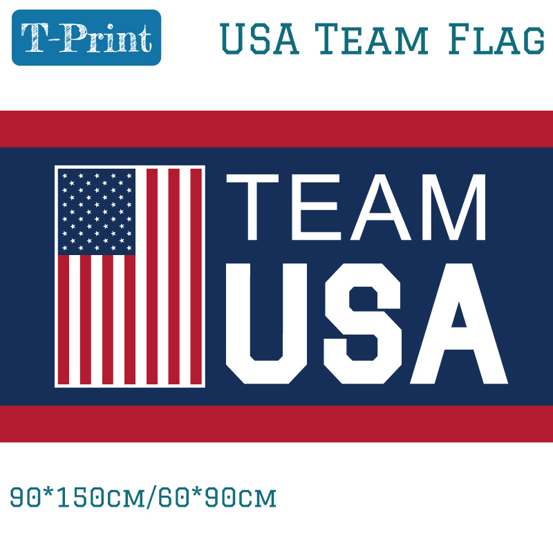 Free shipping Team USA Flag 90x150cm Polyester Digital Print Banner With 2 Grommets 3x5ft For World Cup in Flags Banners Accessories from Home Garden